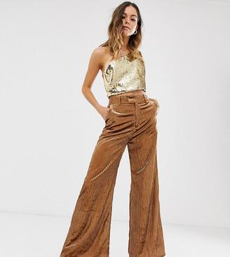 N. Ebonie Ivory Ebonie Ivory wide leg trousers in velvet sparkle-Brown