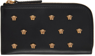 Versace Black All Over Medusa Stud Zip Card Holder