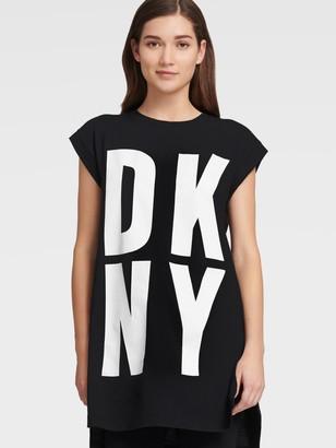 DKNY Women's Short Sleeve Exploded Logo Tunic - Black/White - Size XS