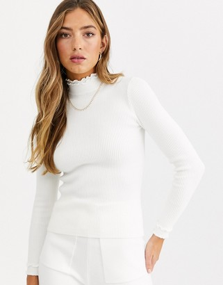 Fashion Union ribbed slim fit jumper with ruffle neck detail-White
