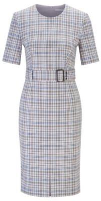 HUGO BOSS - Short Sleeved Shift Dress In Checked Italian Fabric - Patterned