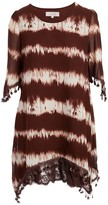 Pretty Angel Women's Blouses COFFEE/CREAM(CF/CM) - Brown & Creme Stripe Tie-Dye Lace Trim Silk-Blend Top - Women