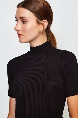 Karen Millen Knitted Rib Funnel Neck Top