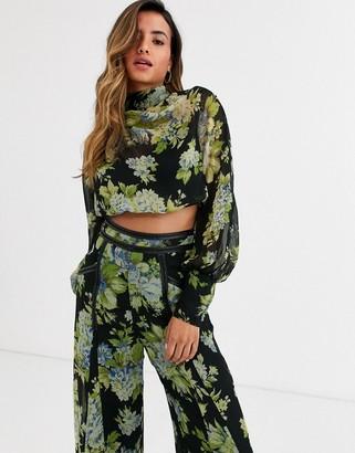 Asos Design DESIGN dark floral cowl top with PU trim co-ord-Multi