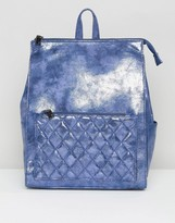 French Connection Quilted Metallic Crackle Backpack