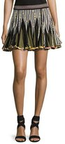 Talitha Collection Striped Inverted-Pleat Flounce Miniskirt, Black/White