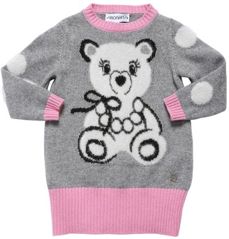 Simonetta Bear Intarsia Wool Blend Knit Dress
