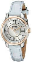 Bulova Accu Swiss Women's 65R158 Diamond Stainless Steel Watch With Blue Leather Band