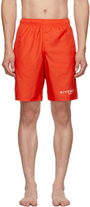 Givenchy Red Paris Logo Long Swim Shorts