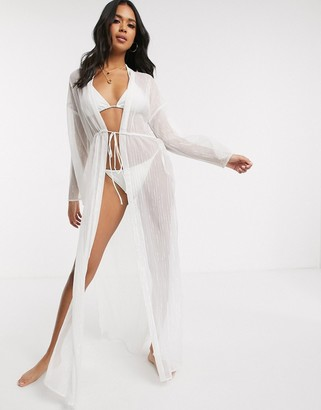 ASOS DESIGN tie front maxi beach kimono in silver white metallic stripe