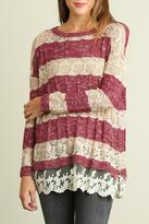 Umgee USA Lace Hem Sweater