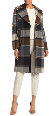 Kensie Plaid Notch Lapel Coat