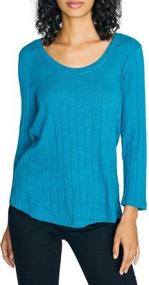 Sanctuary Ruby Ribbed Long Sleeve Cotton Blend T-Shirt (Regular & Petite)