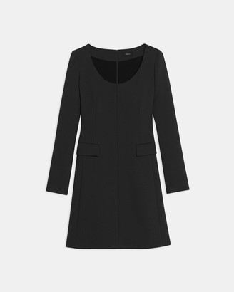 Theory Fitted Open Neck Dress in Utility Wool