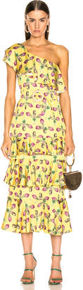 PatBO One Shoulder Tiered Ruffle Midi Dress in Bright Yellow | FWRD