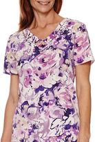 Alfred Dunner Lavender Fields Short-Sleeve Floral Print Blouse
