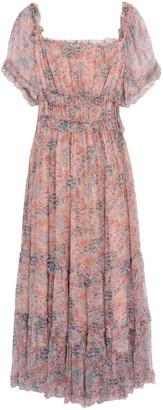 Love Sam Ruffled Gathered Floral-print Crepon Midi Dress