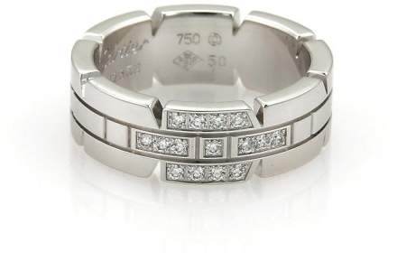 Cartier 18K White Gold Tank Franchaise Diamond Band Ring Size 5