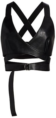 Junya Watanabe Faux Leather Belted Wrap Halter Top