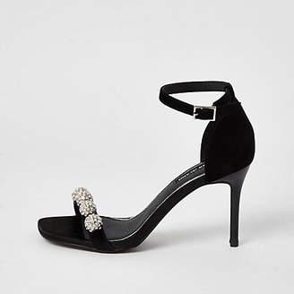 River Island Black diamante embellished heeled sandal