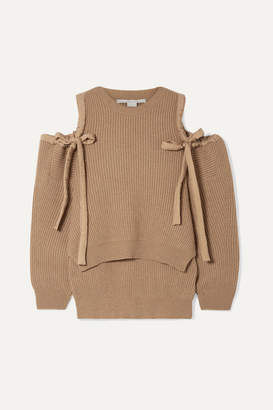 Stella McCartney Cold-shoulder Ribbed Cashmere And Wool-blend Sweater - Camel