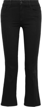 J Brand Selena Metallic-trimmed Mid-rise Kick-flare Jeans