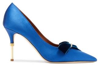 Malone Souliers Paulette Velvet-trimmed Satin Pumps - Womens - Dark Blue