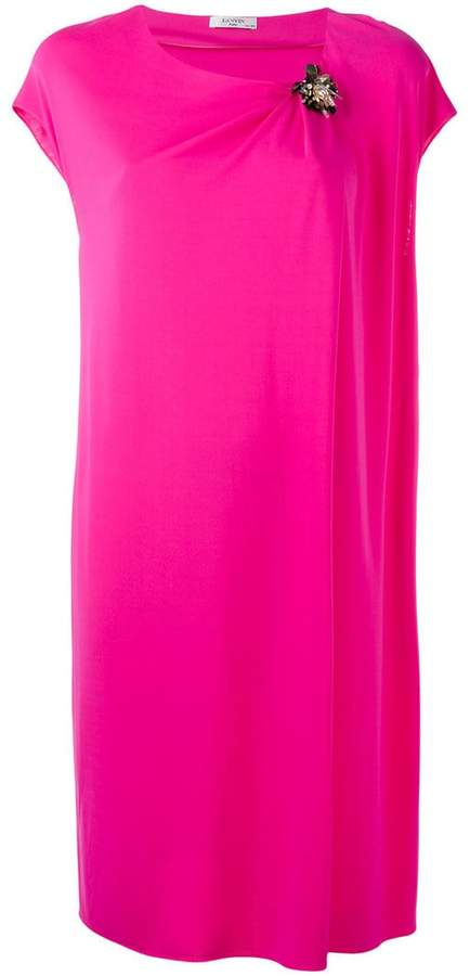 Lanvin draped dress with crystal corsage