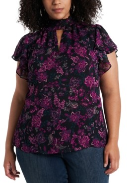 1 STATE Trendy Plus Size Flutter-Sleeve Keyhole Top
