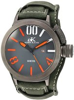 Adee Kaye Men's Quartz Stainless Steel and Leather Dress Watch, Color:Green (Model: AK7285-MIPB/GRY-GN-Wide)