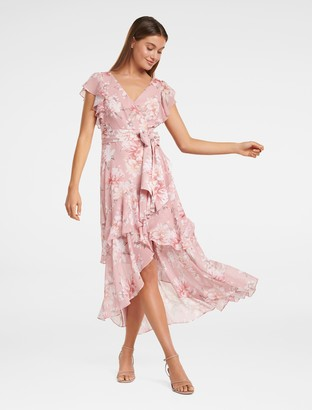 Forever New Tiffany Wrap Midi Dress - Burnt Pink Sienna - 4
