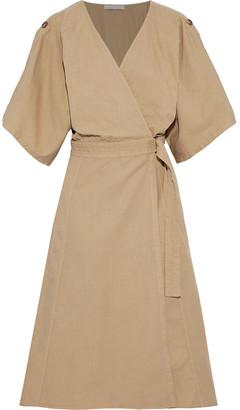 Vanessa Bruno Cotton, Linen And Tencel-blend Twill Midi Wrap Dress