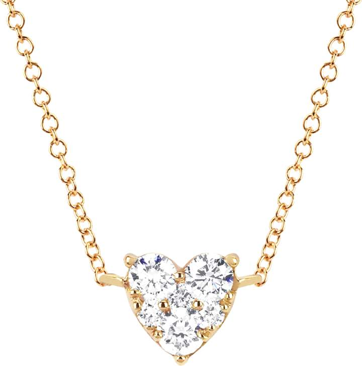 Ef Collection Diamond Heart Choker Necklace