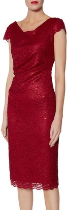 Gina Bacconi Pamela Sequin Lace Dress, Red