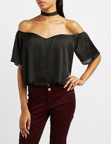 Charlotte Russe Satin Sweetheart Off-The-Shoulder Top