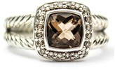 David Yurman 925 Sterling Silver Petite Albion With Smokey Quartz And Diamonds Ring Size 6