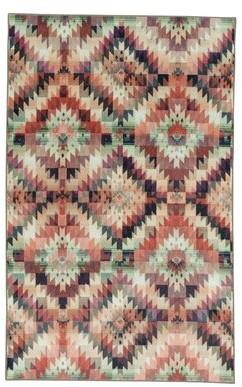 Bungalow Rose Amblewood Power Loomed Aqua/Pink/Ivory Area Rug Rug Size: Rectangle 5' x 8'