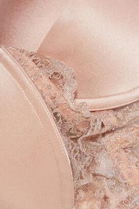 I.D. Sarrieri Bella Lace-trimmed Silk-blend Satin Underwired Push-up Bra