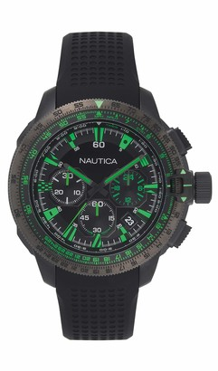 Nautica Men's Mission Bay Chrono Stainless Steel Japanese-Quartz Silicone Strap
