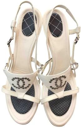 Chanel Ecru Leather Sandals