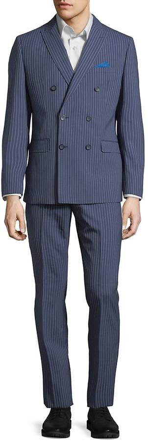 Calvin Klein Men's Striped Double-Breasted Wool Suit