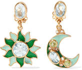 Percossi Papi - Gold-plated And Enamel Multi-stone Earrings - Green