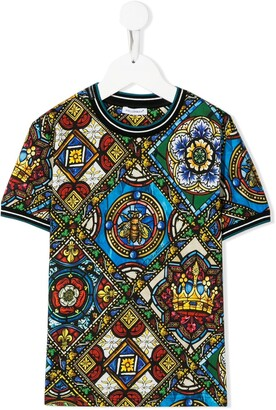 Dolce & Gabbana Kids stained glass print T-shirt