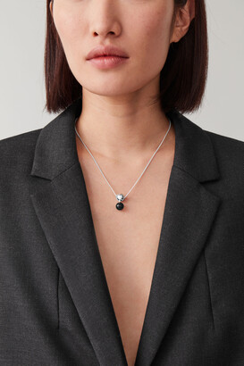 Cos Stone Pendant Sterling Silver Necklace