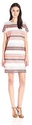 Sharagano Women's Chevron Tshirt Lace Dress W/Pockets