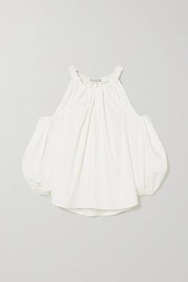 REJINA PYO Carmen Cold-shoulder Gathered Organic Cotton Top - White