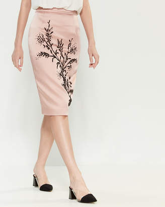 Les Copains Blush Bead Embellished Pencil Skirt