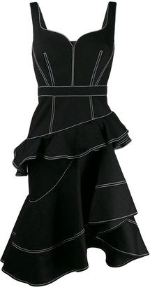 Alexander McQueen Tiered Asymmetric Hem Dress