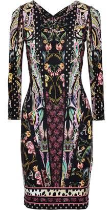 Roberto Cavalli Lace-up Floral-print Metallic Stretch-knit Dress