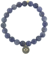 Sydney Evan Eye Disc Charm On Tanzanite Beaded Bracelet